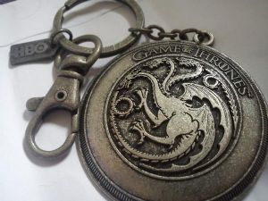 Game Of Thrones Crest Keychain Rare Key Chain Keyring  HBO TARGARYEN Dragon, prop replica